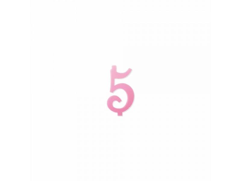 NUMERO  5  ROSA H 12 CM