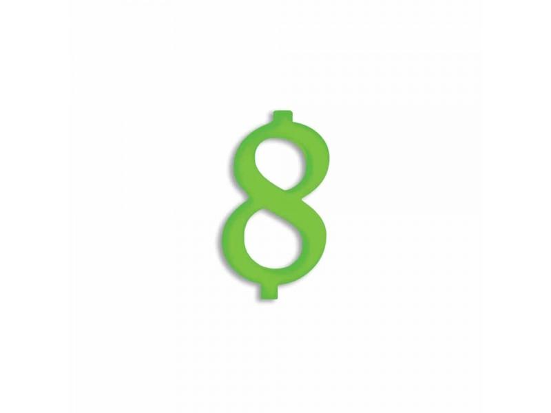 NUMERO  8  VERDE FLUO H 7 CM