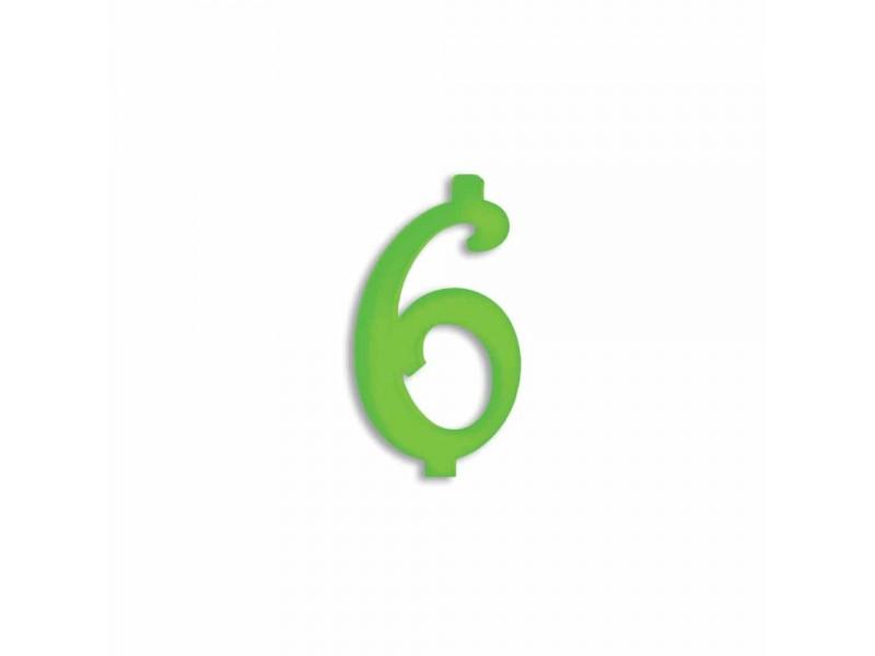 NUMERO  6  VERDE FLUO H 7 CM