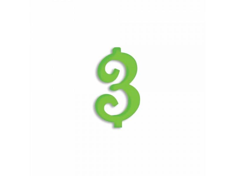 NUMERO  3  VERDE FLUO H 7 CM