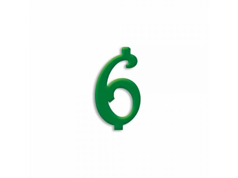 NUMERO  6  VERDE FORESTA H 7 CM