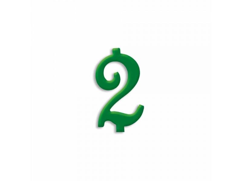 NUMERO  2  VERDE FORESTA H 7 CM