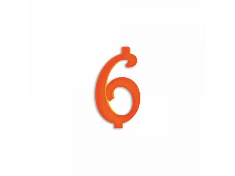 NUMERO  6  ARANCIO H 7 CM