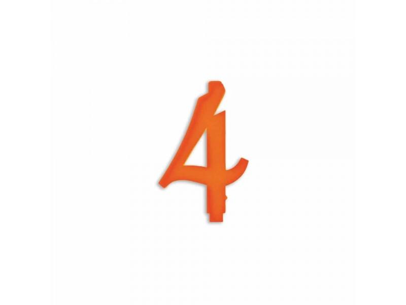 NUMERO  4  ARANCIO H 7 CM