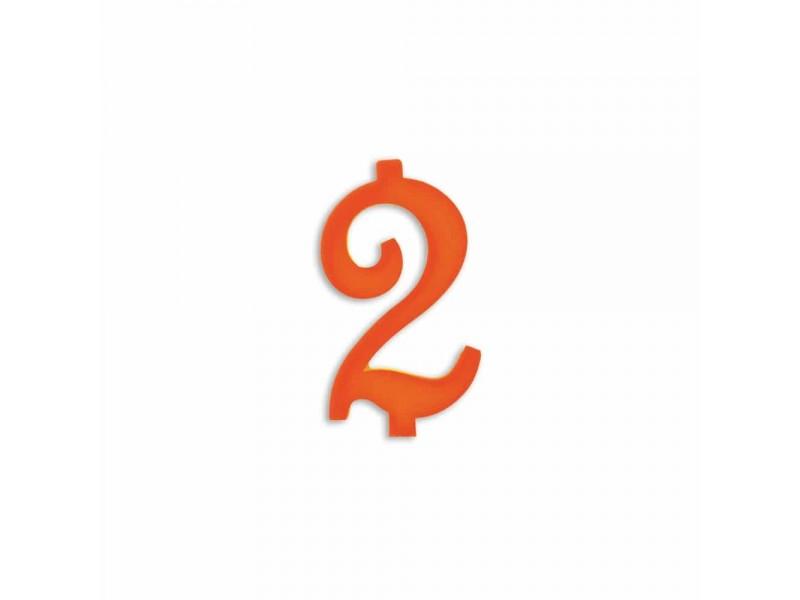 NUMERO  2  ARANCIO H 7 CM