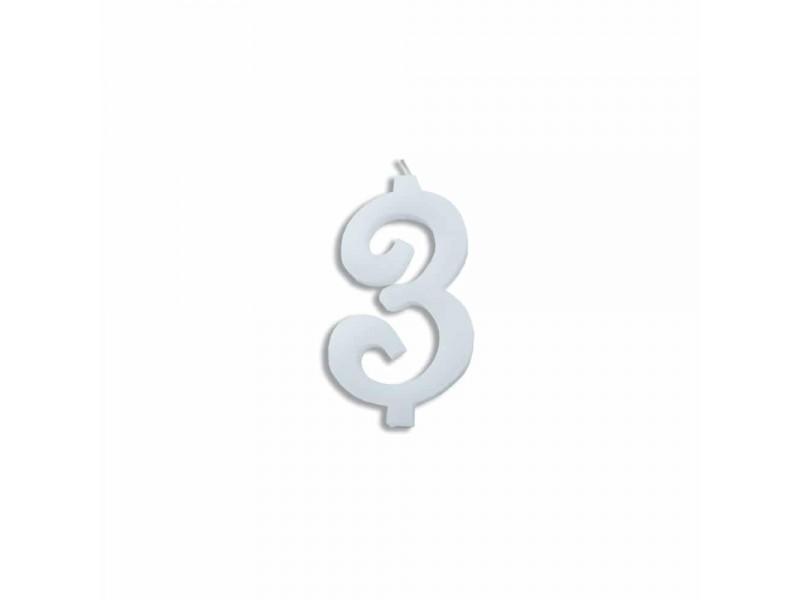 NUMERO  3  BIANCO H 7 CM
