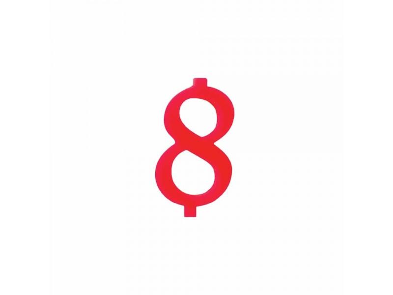 NUMERO  8  ROSSO H 7 CM