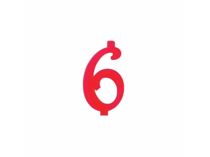 NUMERO  6  ROSSO H 7 CM
