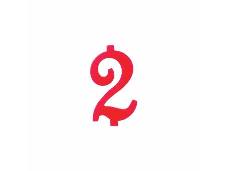 NUMERO  2  ROSSO H 7 CM