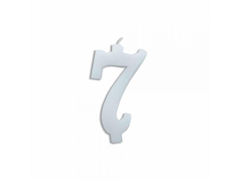 NUMERO  7  BIANCO H 12 CM