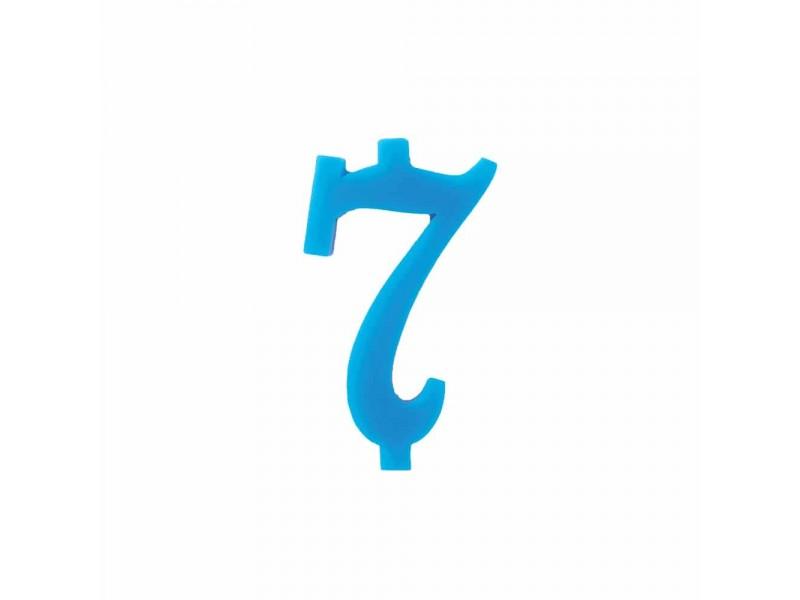 NUMERO  7  CELESTE  H 12 CM