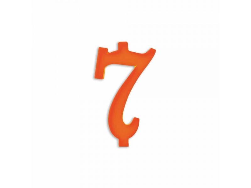 NUMERO  7  ARANCIO H 12 CM