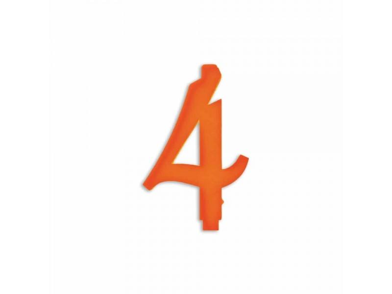 NUMERO  4  ARANCIO H 12 CM
