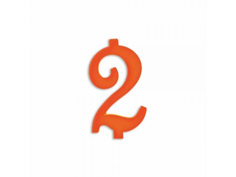 NUMERO  2  ARANCIO H 12 CM