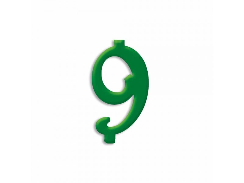 NUMERO  9  VERDE FORESTA H 12 CM