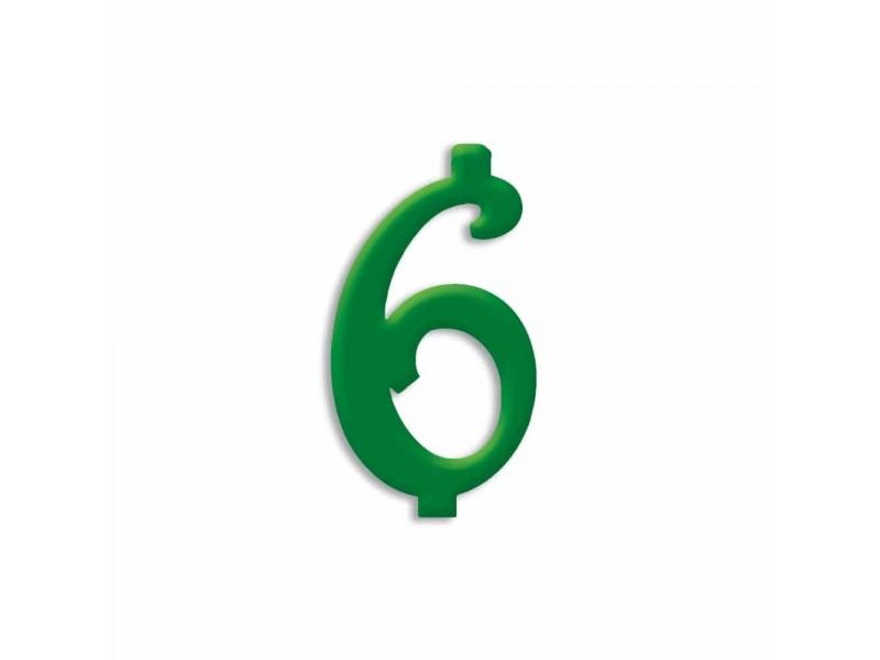 NUMERO  6  VERDE FORESTA H 12 CM