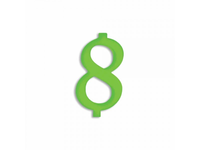 NUMERO  8  VERDE FLUO H 12 CM