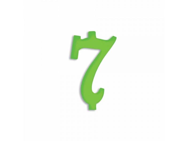 NUMERO  7  VERDE FLUO H 12 CM
