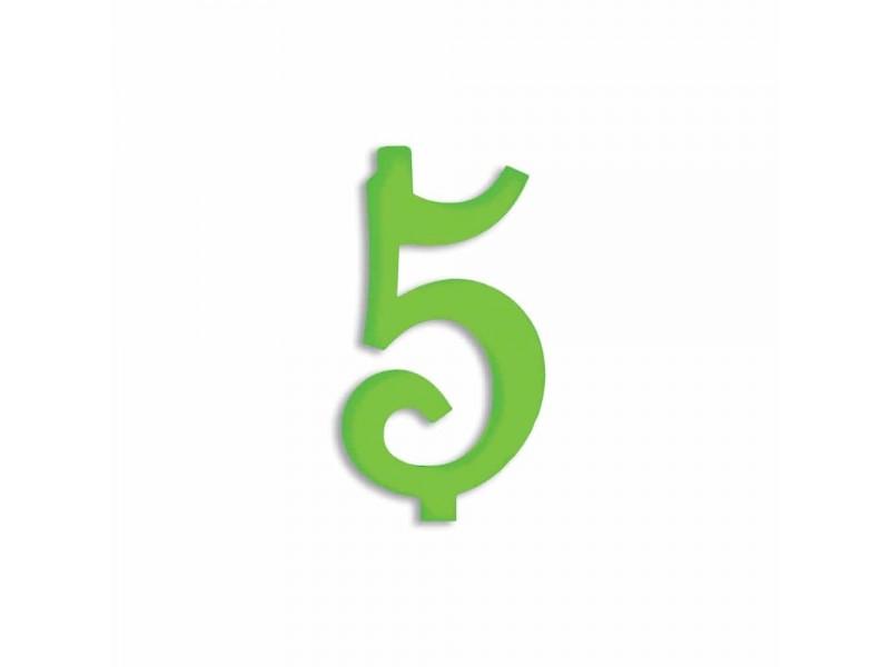 NUMERO  5  VERDE FLUO H 12 CM