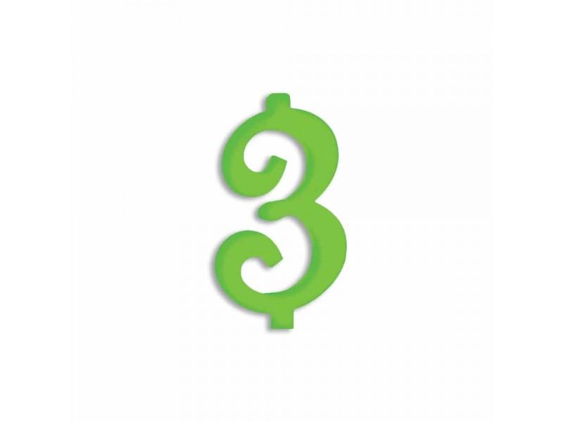 NUMERO  3  VERDE FLUO H 12 CM
