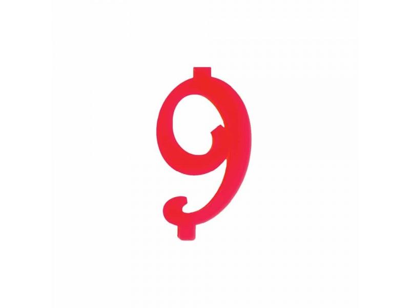 NUMERO  9  ROSSO H 12 CM