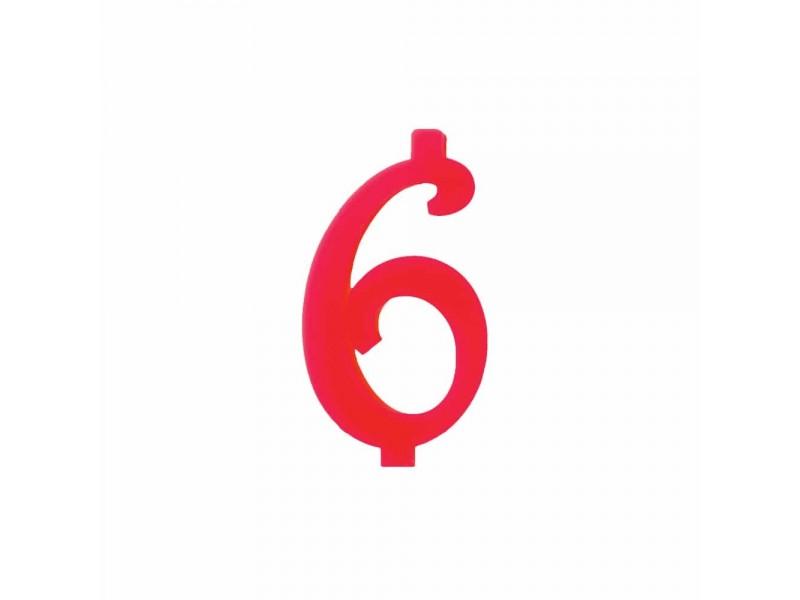NUMERO  6  ROSSO H 12 CM