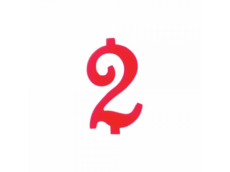 NUMERO  2  ROSSO H 12 CM