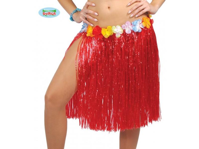 FALDA HAWAIANA FLORES 55 CMS. ROSSA