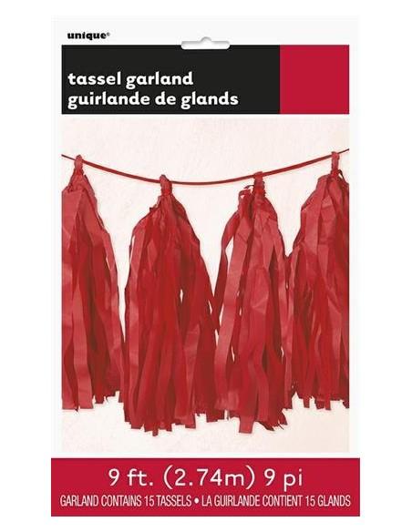 RUBY RED TISSUE TASSEL GARLAND