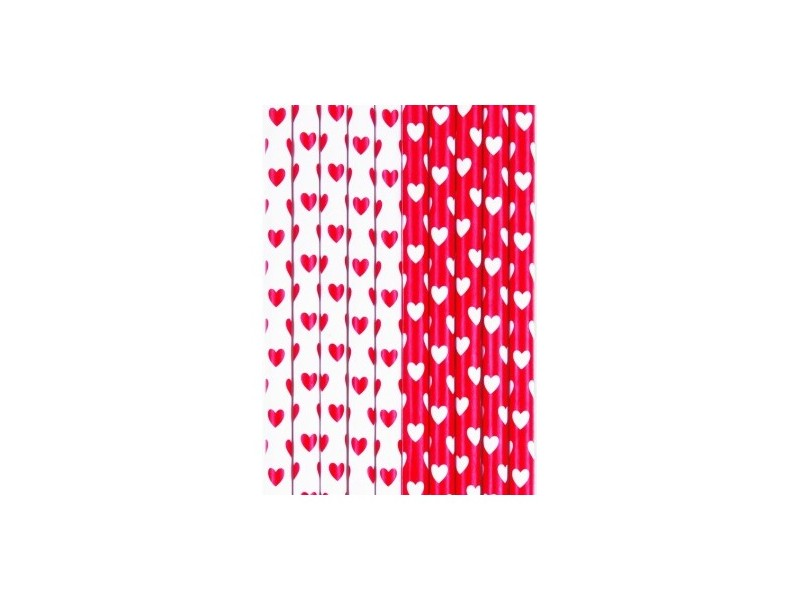 STRAWS HEARTS RED PZ. 10