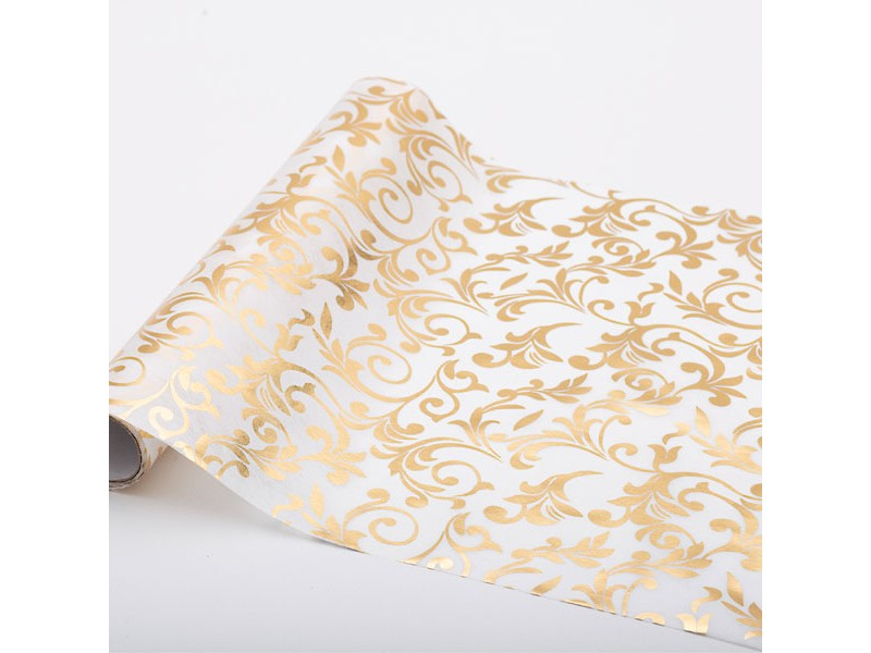TABLE RUNNER BIANCO DECORO ORO CM28X3MT