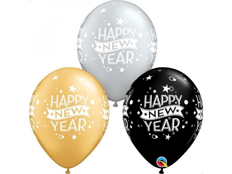 """PALLONE LATTICE 11"""" HAPPY NEW YEAR 3 COLORI ASS. 25PZ"""