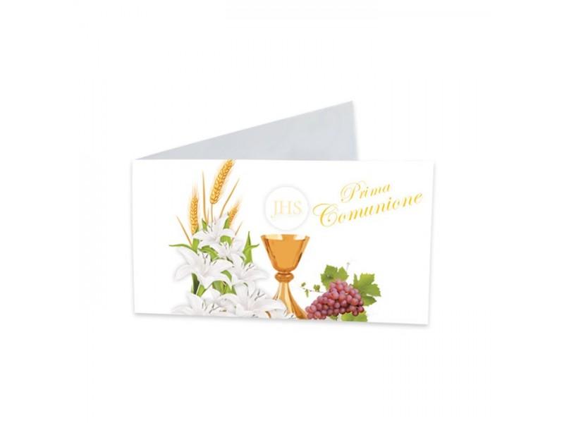 25 BIGLIETTINI COMUNIONE LILY CM.9X2