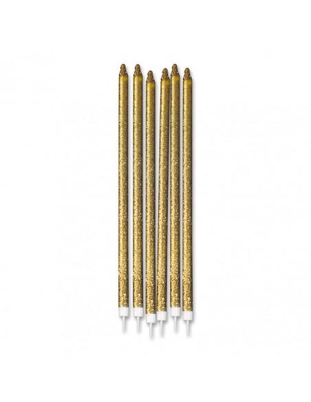 12 Candeline Matite Glitter Oro cm.15 + supp.