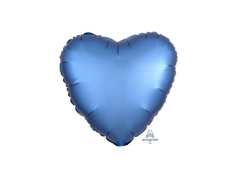 "PALL. MYLAR HEART 18"" SATIN LUXE AZUR"