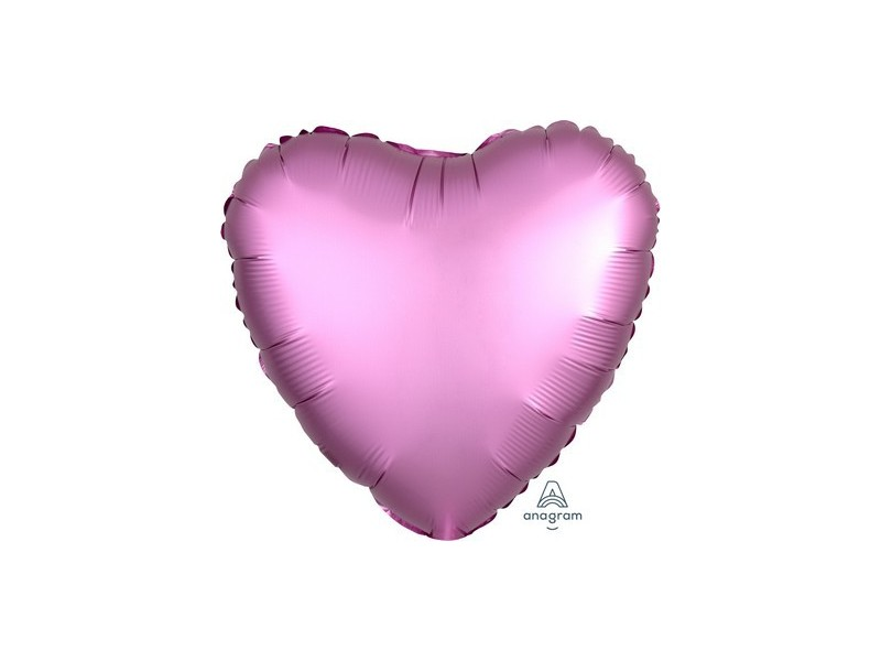 "PALL. MYLAR HEART 18"" SATIN LUXE FLAMINGO"
