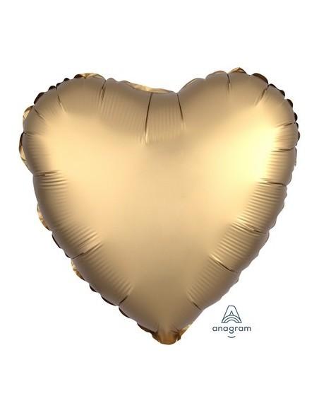"PALL. MYLAR HEART 18"" SATIN LUXE GOLD"