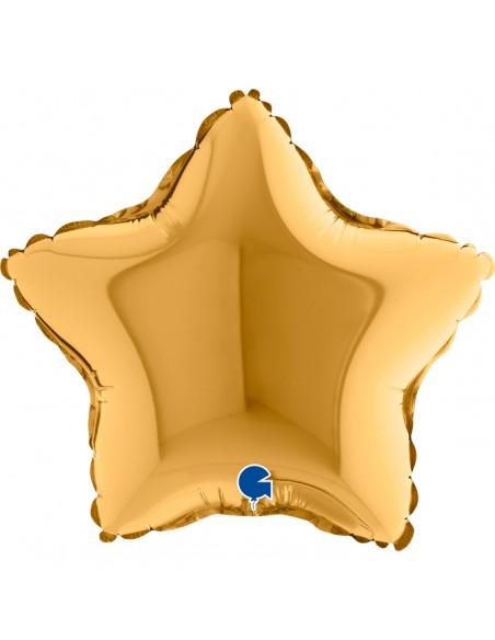 "STELLA MYLAR STAR GOLD 9"" CM. 23"