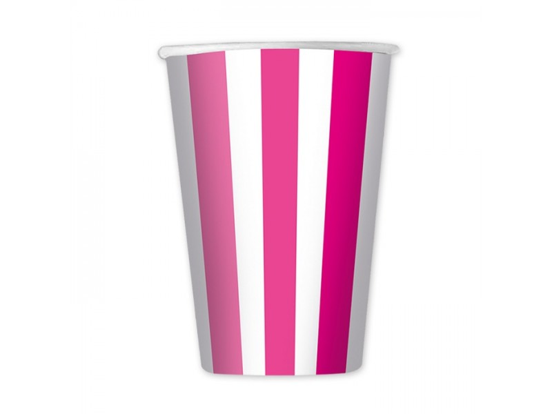 6 Bicchieri cc.470 Stripes Fuxia